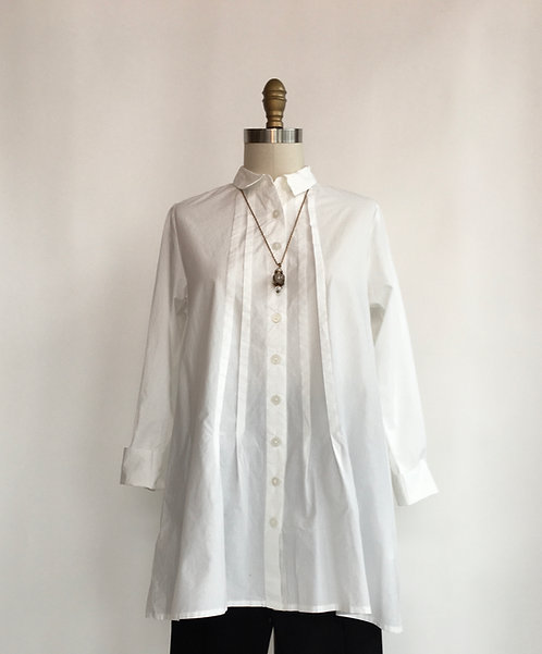 Cotton White Button Down Collared Shirt with Front and Back Tucks