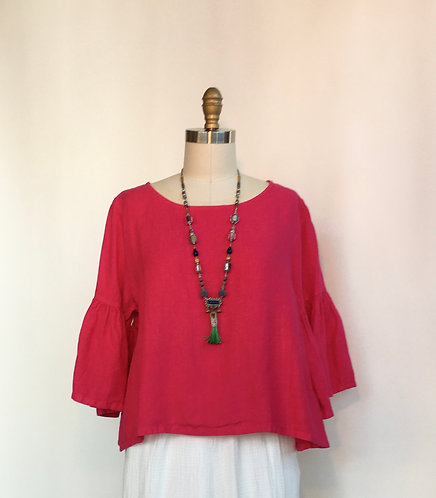 Cropped Linen Top with Ruffled Sleeves and Back
