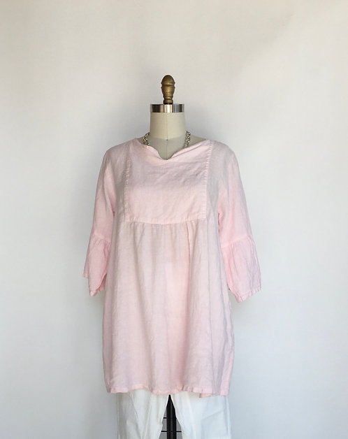 Linen Babydoll Tunic with Front Bib and Bell Sleeve