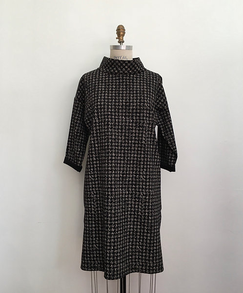 Mock Turtleneck Houndstooth Dress with Side Slits