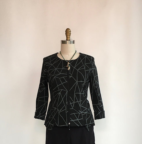 Fitted Collarless Jacket with Zip Front