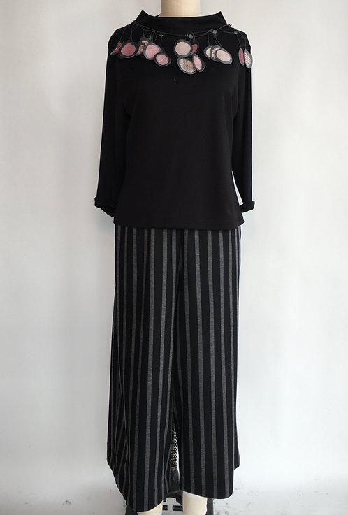 Striped Jersey Wide Leg Pant