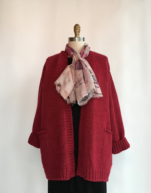 Open Front Cardigan with Large Cable down the Back
