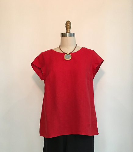 Cap Sleeve A-line Linen Top with Back Pleat