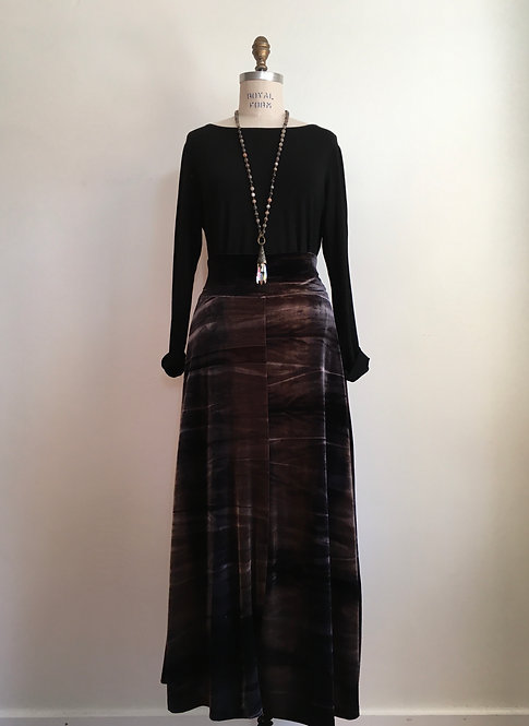 Tie Dyed Long Velour Skirt with Wide Waistband