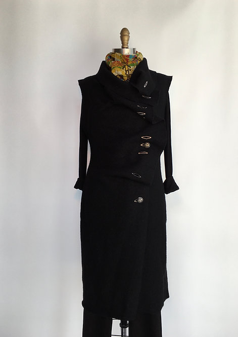 Long Boiled Wool Vest with Button Detail