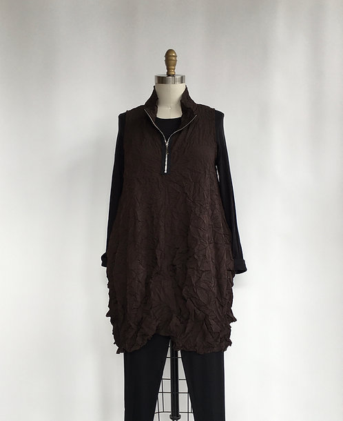 Comfy Long CrinkleVest with Front Zip