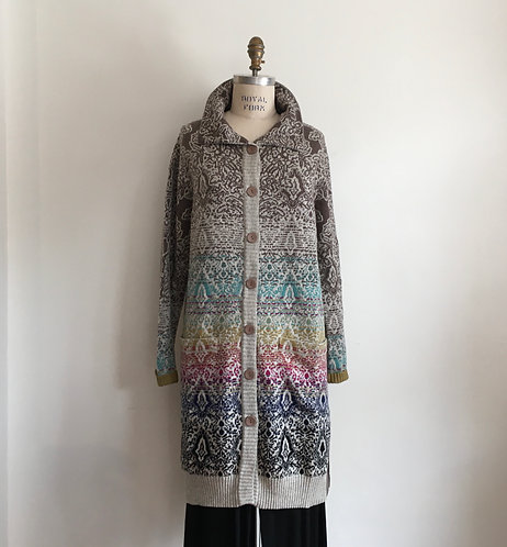 Long Floral Patterned Cardigan