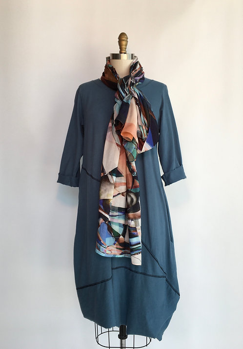 Cotton Jersey Dress with Contrasting Seams