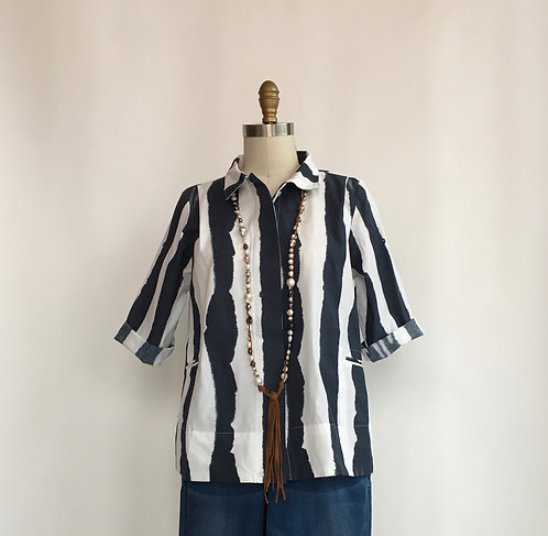 Short Cotton 3/4 Sleeve Button Down Top with Gathered Back