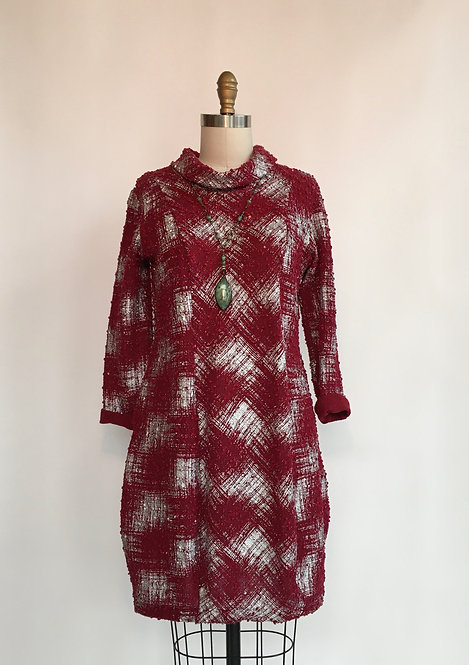 Abstract Plaid Tunic/Dress with Baubles and Sequins