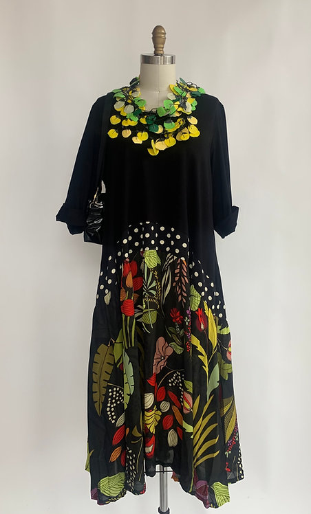 Black and Garden Printed Dress