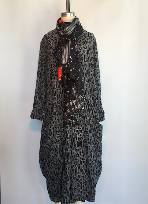 Textured Animal Print Coat with Big Collar