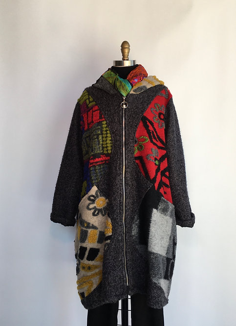 Colorful Felted Coat with Hood