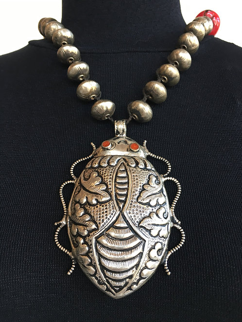 Silver Beaded Necklace with Cicada Pendant and Large Coral Bead