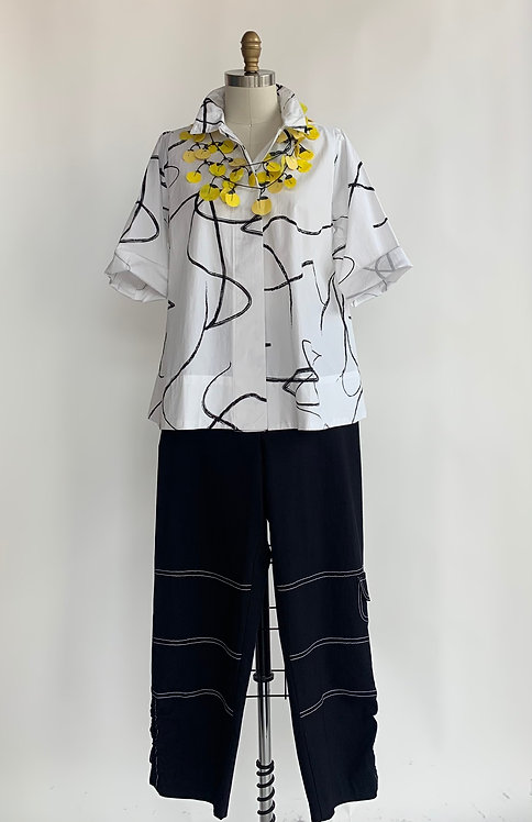 White and Black Swirl Button Up