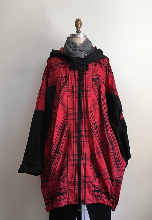Plaid Hooded Jacket with Drawstring Bottom