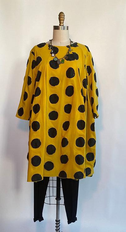 Mustard Babydoll Dot Dress