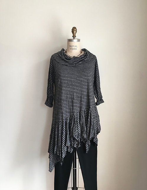 Comfy Striped Cowl necked Tunic with Handkerchief Hem