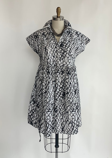 White Grey and Black Printed Cotton Dress