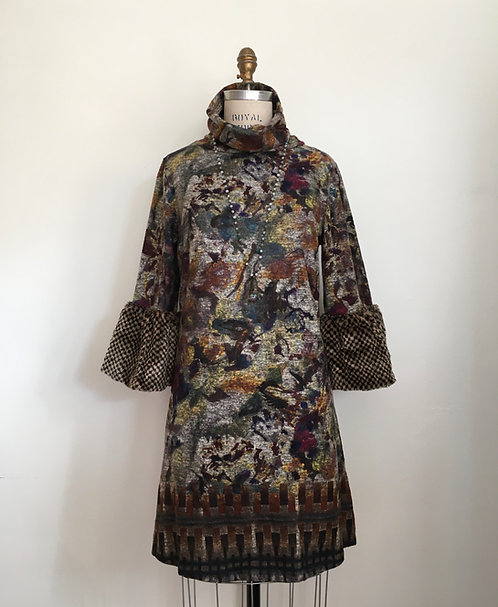 Turtleneck Dress with Faux Fur Cuffs