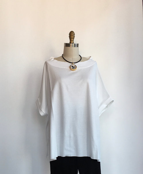 Boxy White Cotton Short Sleeved Tee With Stand-up Boatneck