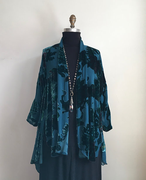 Flowy Burnout Velvet Open Jacket