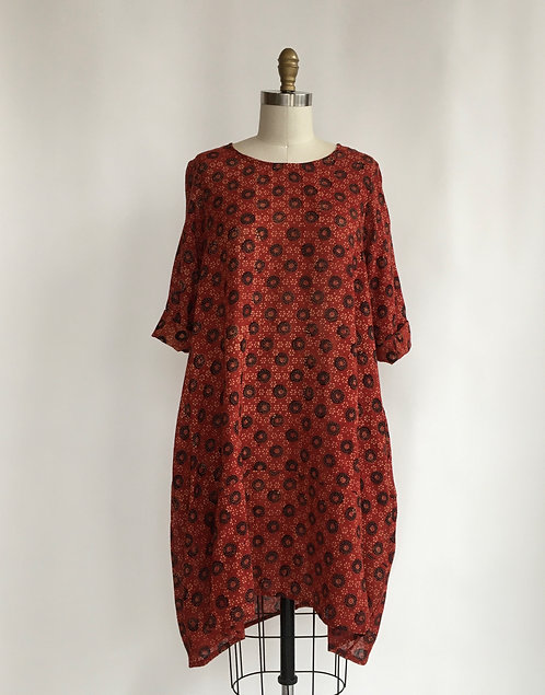 Bubble Tunic/Dress in Hand Blocked Indian Cotton