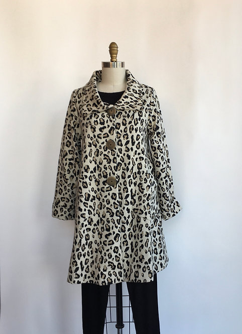 Leopard Swing Coat with Patch Pockets