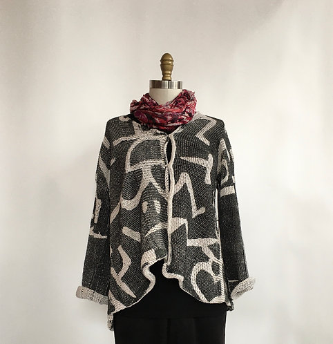 5 Button Cardigan with Klee Print