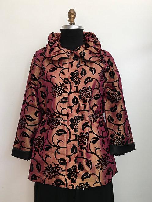 Ruffle Collar Printed Taffeta Jacket