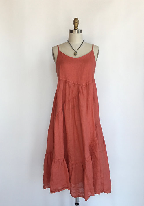Strappy Empire Waisted Linen Dress with Diagonal Tiers
