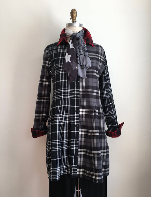 A-line Flannel Shirt in Mixed Plaids