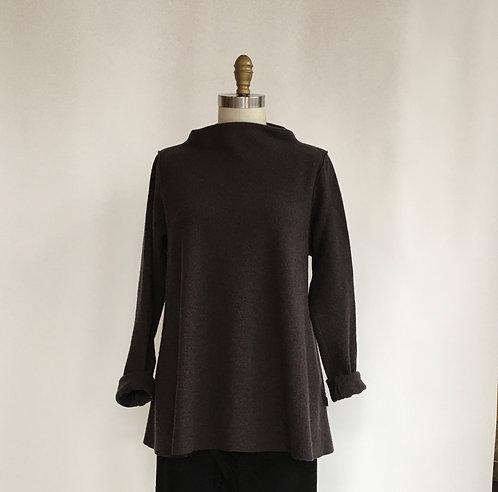 A-line Boatneck Top in Lightweight Boiled Wool