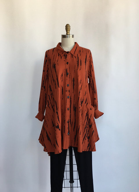 Collared Button Down Swing Shirt with Pockets