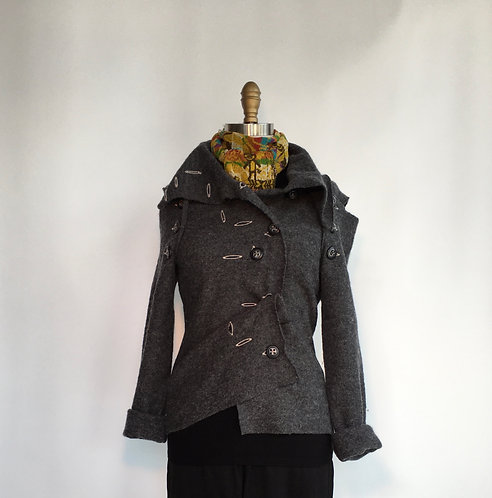 Boiled Wool Jacket with Removable Sleeves