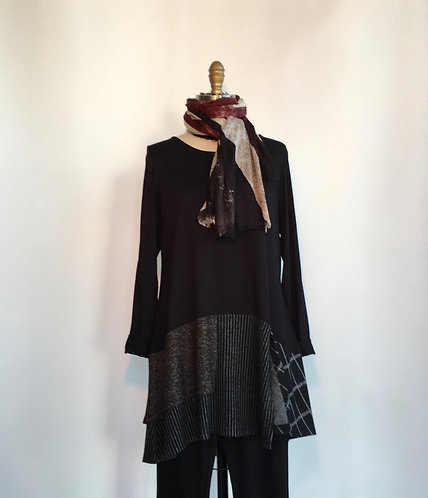 Tunic with Mixed Menswear Fabric Bottom
