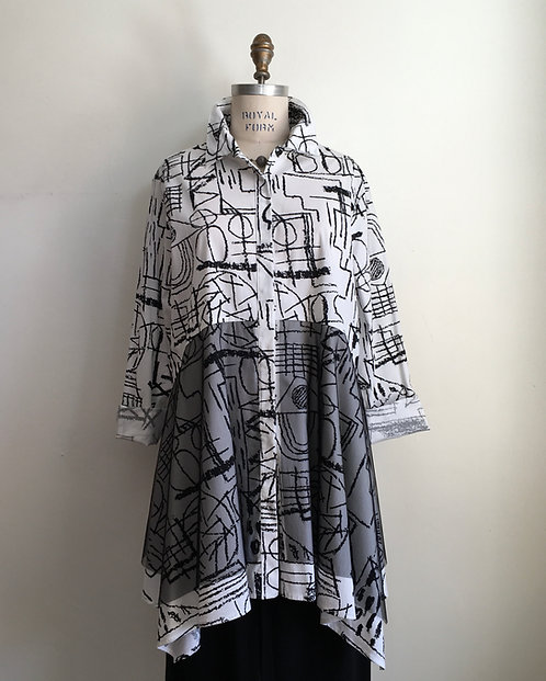 Abstract Patterned Swing Blouse with Netting