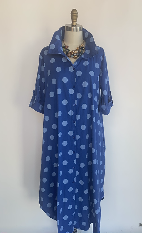 Loose Fit Polka Dot Cotton Collared Dress