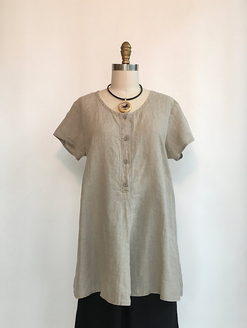 Short Sleeve Linen Tunic with 4 Button Front
