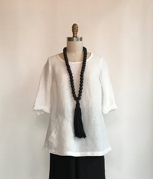 3/4 Sleeve Linen Top with Pleated Buttoned Back