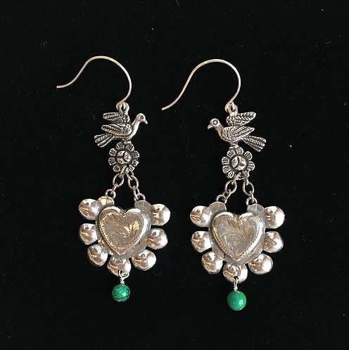 Silver Allende Earring with Turquoise Bead
