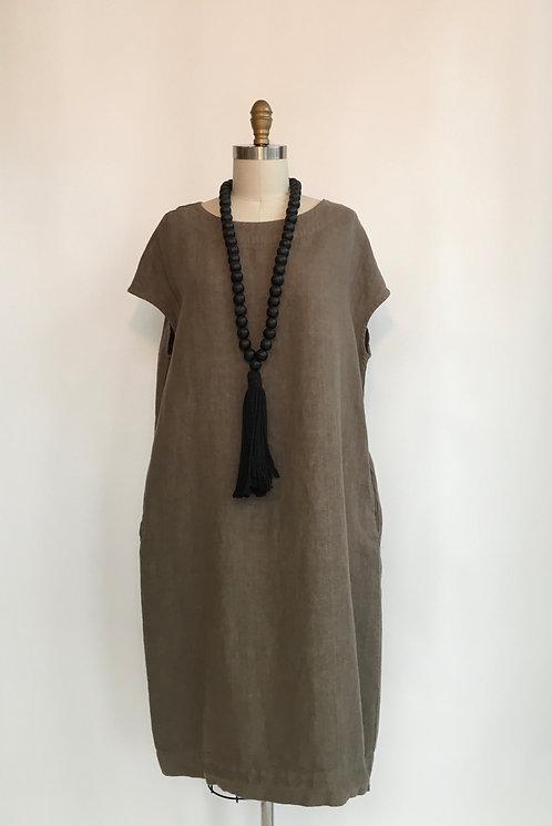 Cap Sleeve Linen Dress