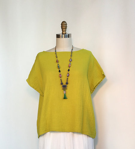 Soft Cotton Gauze Boxy Top with Cap Sleeve