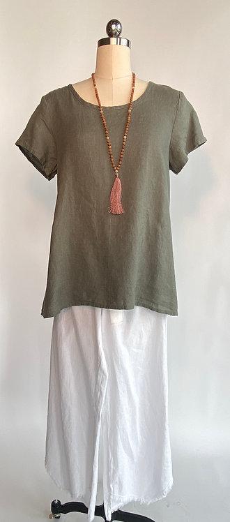 Short Sleeve Linen Blouse