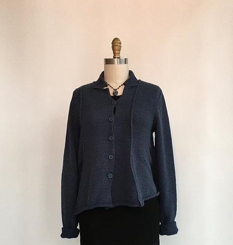 Short Cotton Asymmetrical Swing Cardigan with Collar