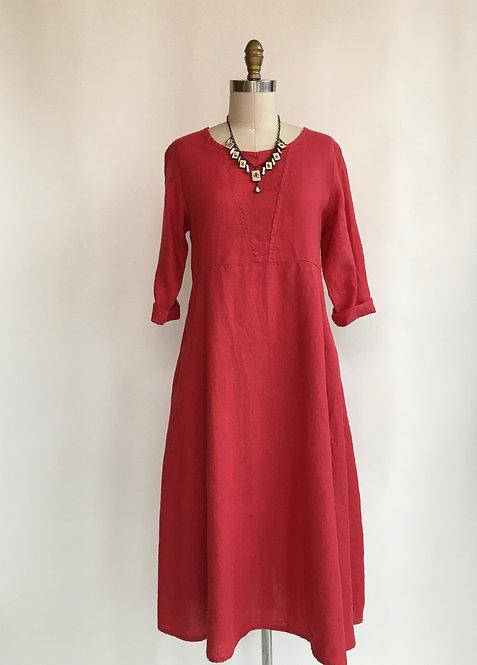 High Waisted Dress with 3/4 Sleeve