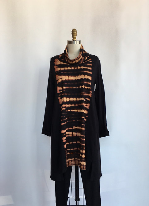 Cowl Neck Tunic with Tie Dye Front Panel