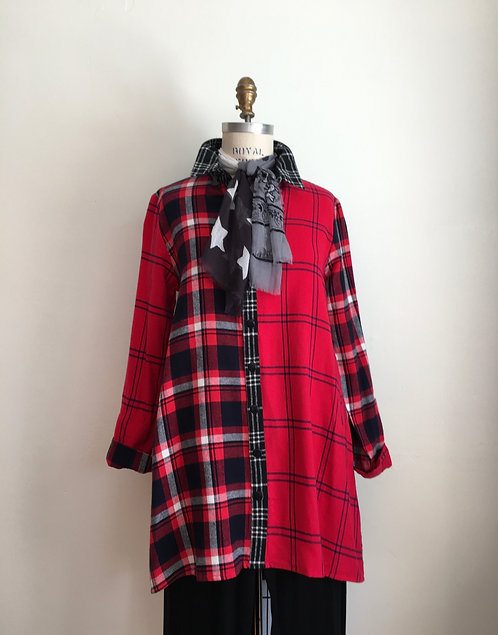 Mixed Plaid Flannel Shirt with Back Pleat
