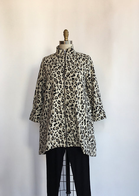 High Collared Zip Front Leopard Jacket